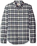 Original Penguin Men's Brushed Herringbone Plaid Shirt, Dark Sapphire, Large