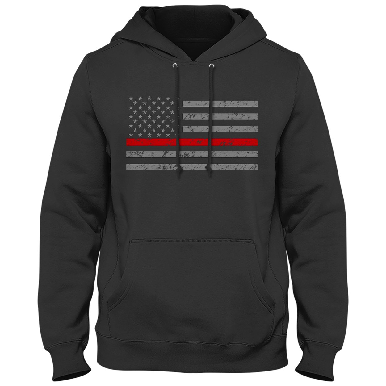 Thin Red Line Horizontal American Flag Firefighter Support Adult Hoodie-FL