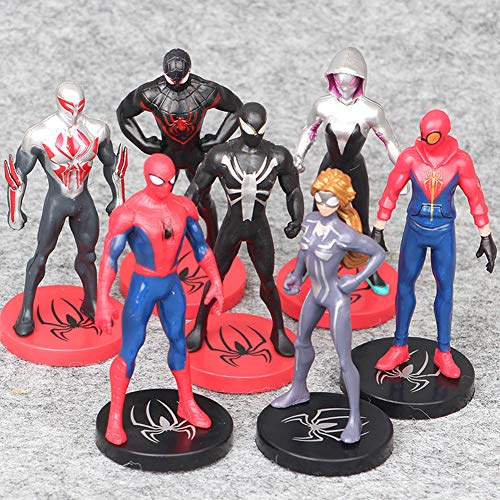 Superhero Spider-Man Figures 7 Piece Set,Spider-Man Cake Topper,Birthday Party Cake Supplies