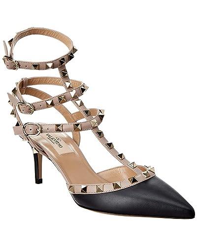 Valentino Rockstud Cage 65 Leather Ankle Strap Pump 37 Black