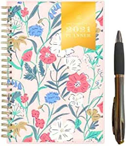 2020-2021 Weekly Monthly and Day Planner Wild Flower Design Made by Day Designer 4''x 6'' Page Size Flexible Cover Monthly Calendar