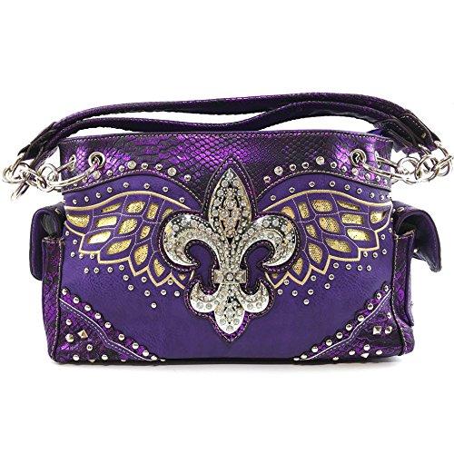 Wing Fleur - Justin West Fleur De Lis Angel Wings Concealed Carry Handbag Purse (Purple Purple Handbag)