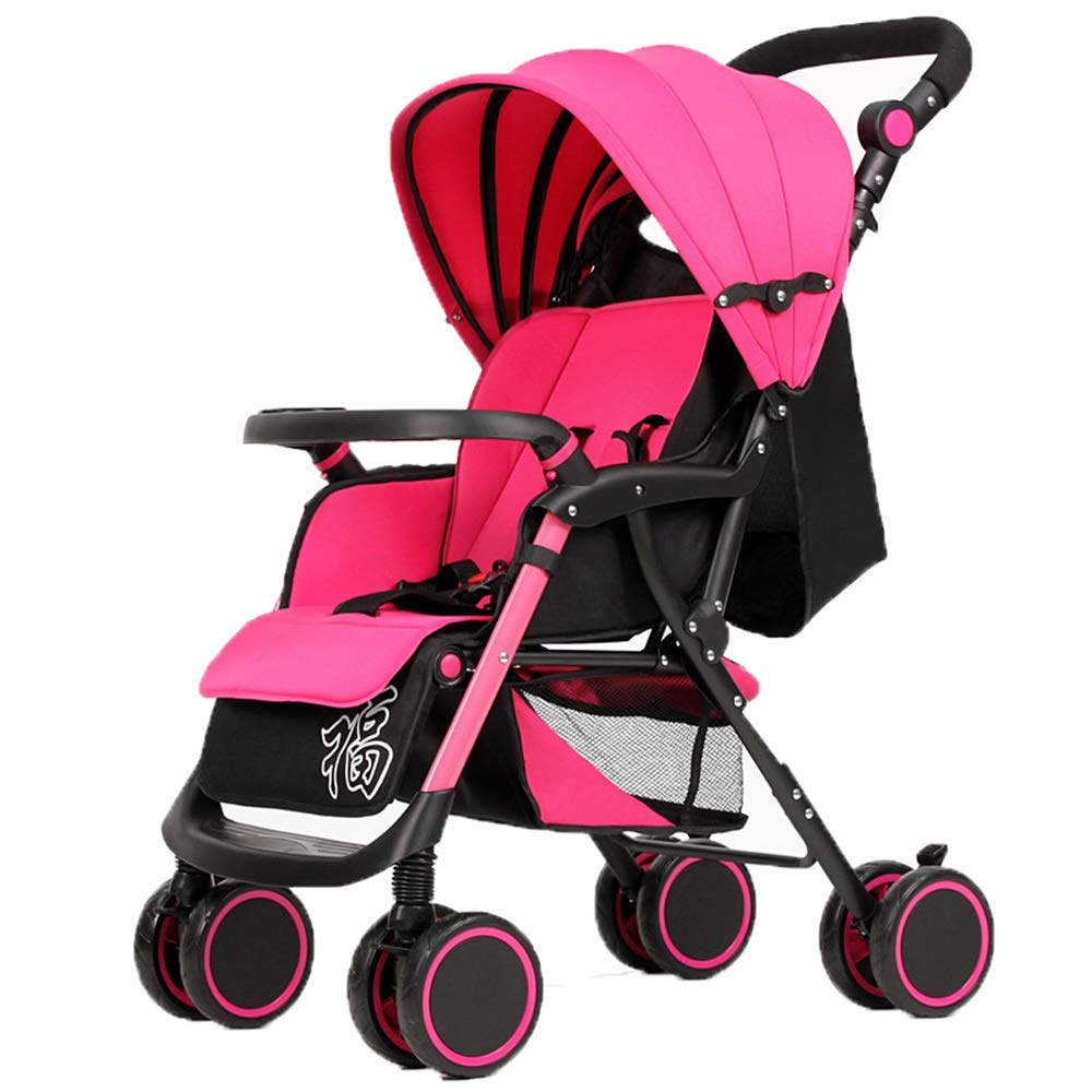 ベビーカー、全地形軽量フィットネスランニングベビーカー、4輪ミュートデザイン、衝撃吸収付き、036ヶ月の赤ちゃんに最適  pink B07MTC983W