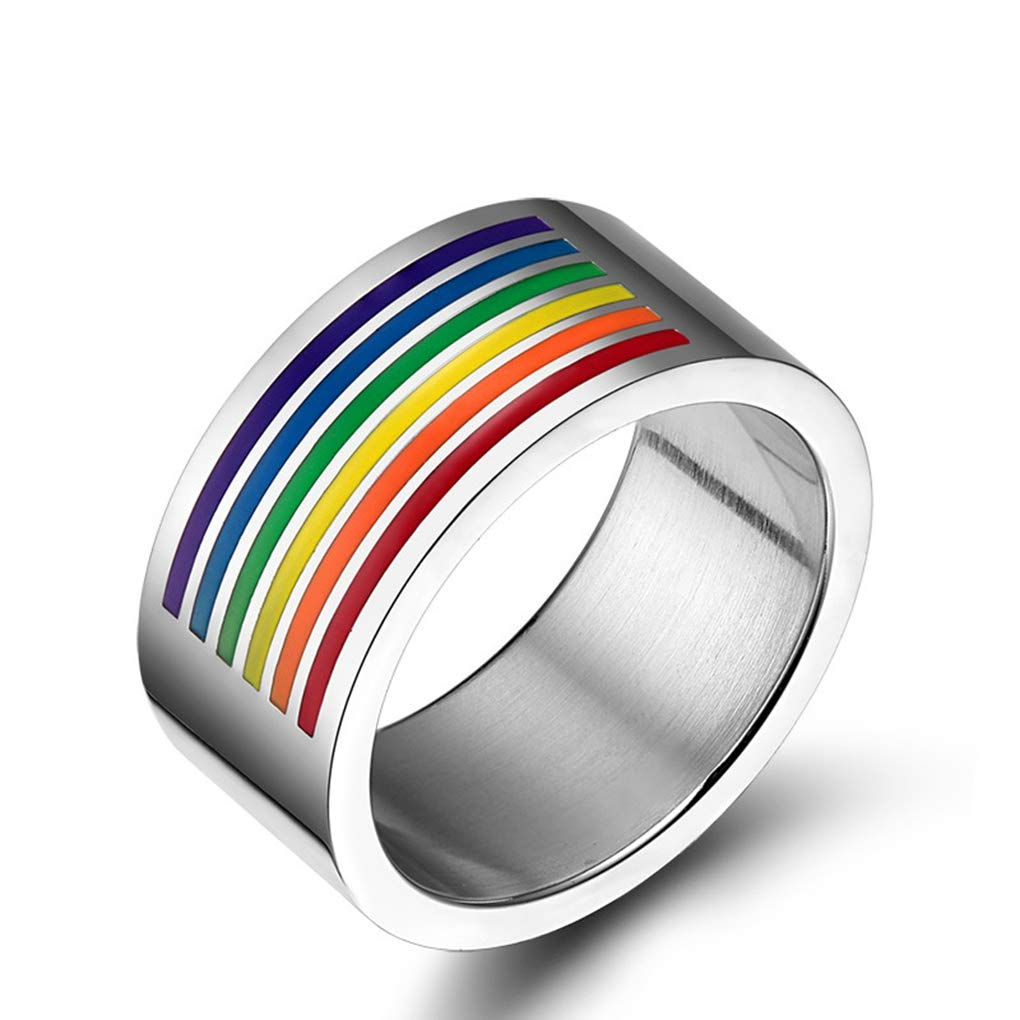 FENDINA Titanium Stainless Steel Gays & Lesbians LGBT Pride Rainbow Flag Band Ring Jewelry