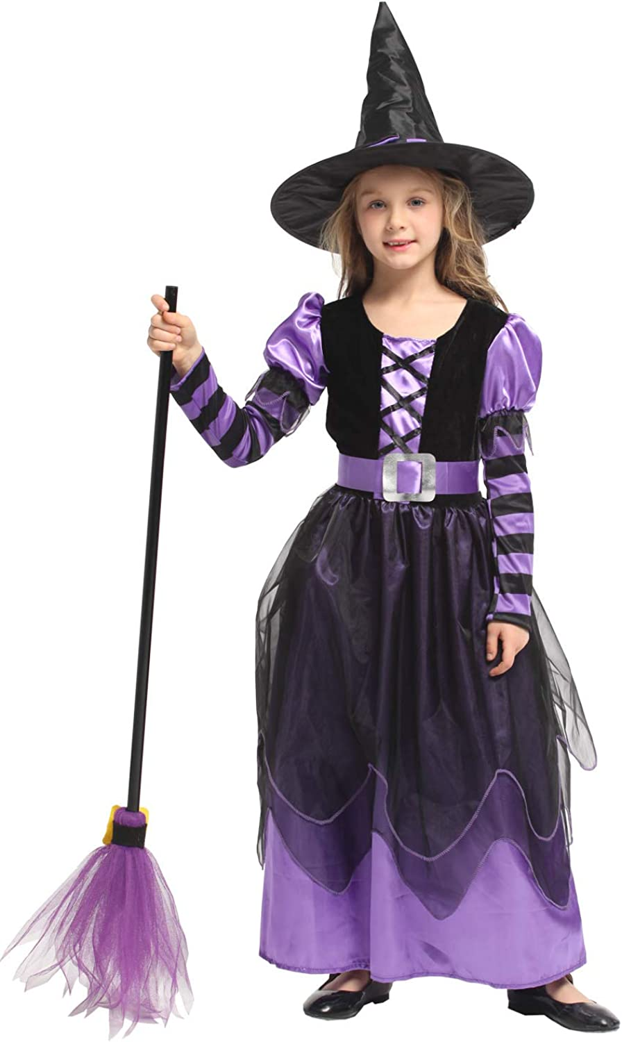Amazon Com Shanghai Story Girl S Witch Costume Kids Dress With Hat Clothes For Halloween Clothing