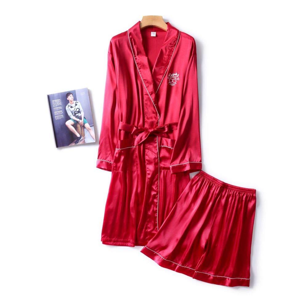 DUJUN Vestido Kimono Corto Pijama Bata Satén Seda de Hielo Bata ...