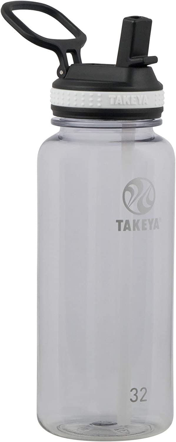 Takeya Tritan Sports Water Bottle with Straw Lid, 32 oz, Clear
