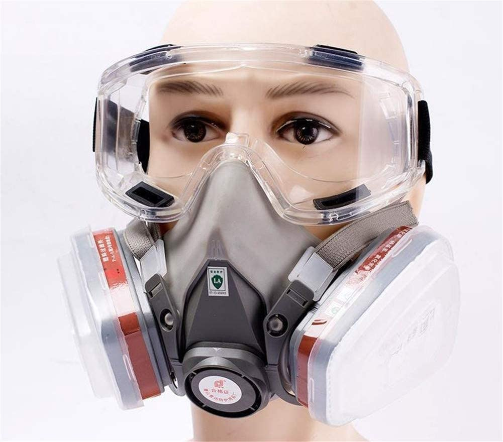 Siixing Safety Glasses Half Facepiece Gas Mask with Respirator Mask Reusable Professional Breathing Eye Protection Against Dust, Organic Vapors