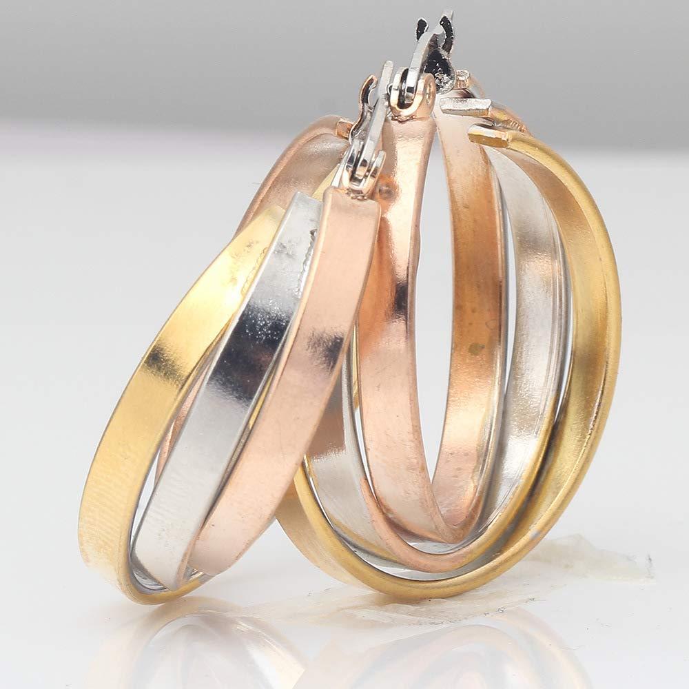 New Design Overlapping Triple 18k Gold Plated Stainless Steel Hoop Earring