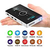Proyector de Bolsillo 4k DLP Mini proyector Android Quad Core Doble Banda WiFi Bluetooth Pico proyector,1G+8GB