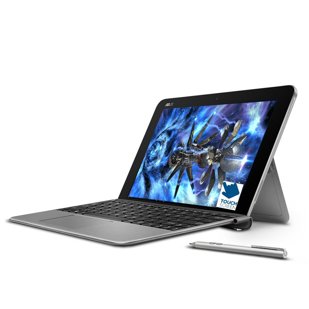 Premium ASUS Transformer 10.1'' Touchscreen 2-in-1 Laptop PC with Keyboard and Stylus Pen Intel Atom x5-Z8350 Processor 4GB RAM 64GB SSD 802.11AC Wifi HDMI Bluetooth Webcam Windows 10-Gray by Asus