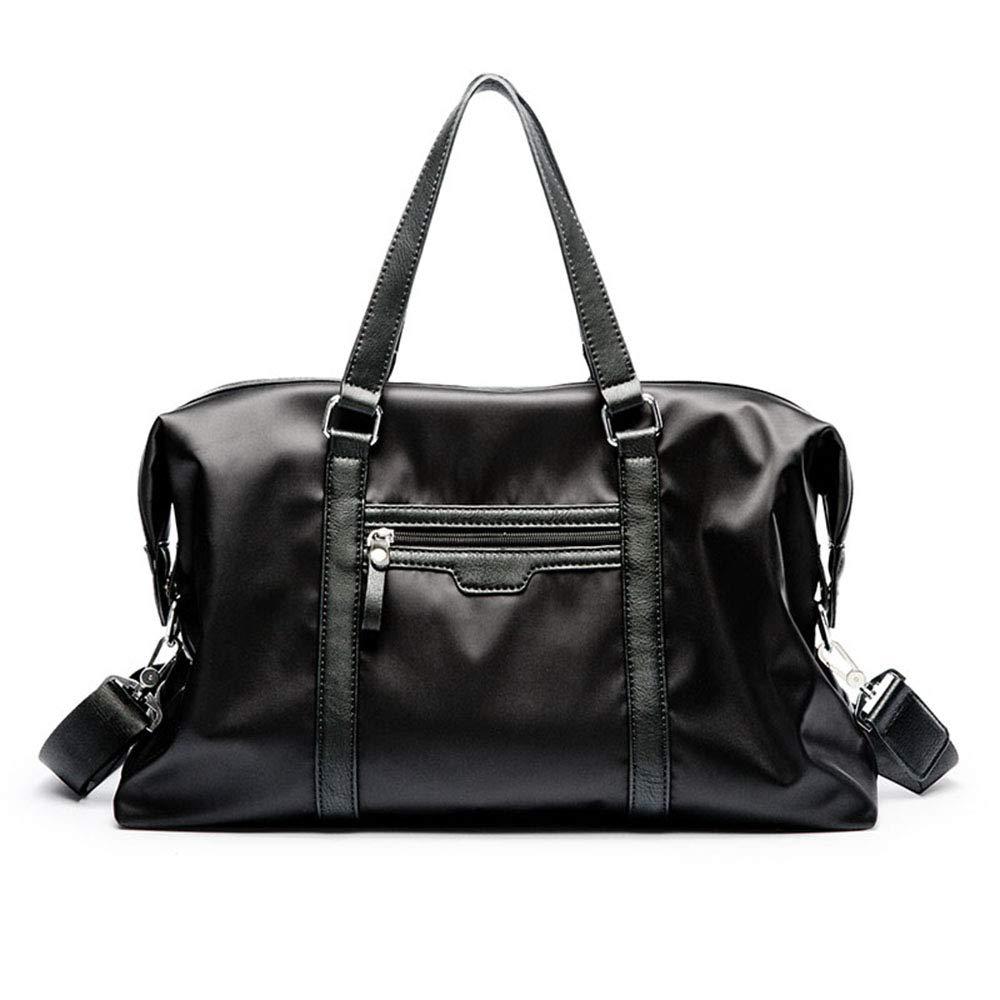 スタイリッシュなシンプルさメンズブラック防水布ポータブルトラベルバッグフィットネスレジャー旅行ショッピング特別パッケージ 旅行用ハンドバッグ (色 : ブラック) B07QN31GLF ブラック