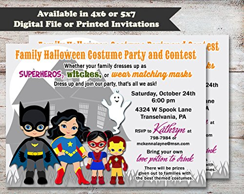 Superhero Costume Family Halloween, Costume or Birthday Party Invitation, Set of 10 5