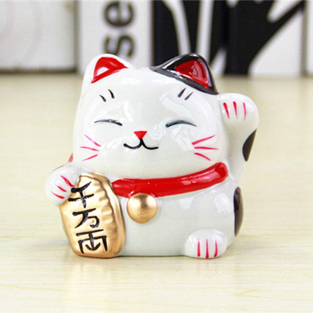 Vosarea Coin Bank Lucky Cat Cartoon Animal Coin Bank Ceramic with Colorful Painting