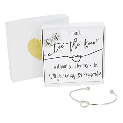Bridesmaids Gifts - Tie the Knot Bridemaid Proposal Bracelet u0026 Earring Gift Set Adjustable Love  sc 1 st  Amazon.com & Amazon.com: Bridesmaids Gifts - Tie the Knot Bridemaid Proposal ...