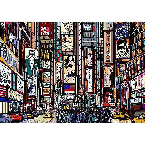 wall26 - Illustration of a Street in New York City - Removable Wall Mural   Self-Adhesive Large Wallpaper - 100x144 inches by wall26 (Image #1)