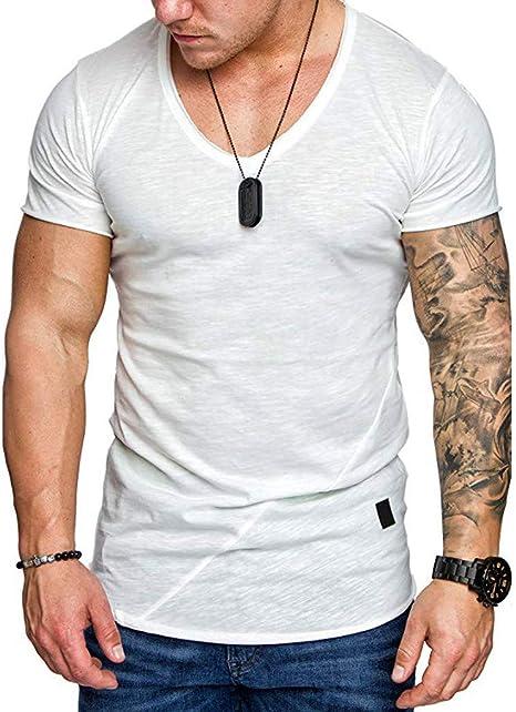 Camisa para Hombre Moda para Hombre Verano con Cuello en V Camisa de Manga Corta Delgada