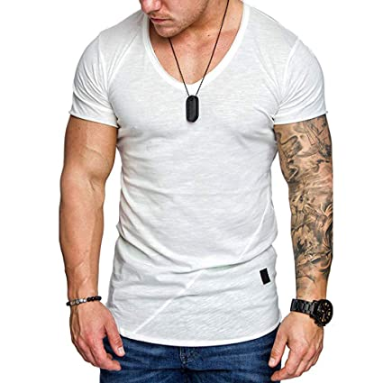a754a071c816 Amazon.com: Men's Casual T Shirts,Slim Fit Tops Short Sleeve Blouse Cotton  Blended Tunic Soft Lightweight Tee V-Neck Shirt: Office Products