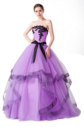 Vimans Long Purple Strapless Puffy Wedding Gowns For Bridal