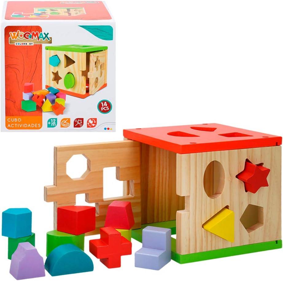 WOOMAX- Cubo actividades de madera 14 piezas (Colorbaby 42139)