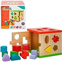 WOOMAX- Cubo actividades de madera 14 piezas (Color