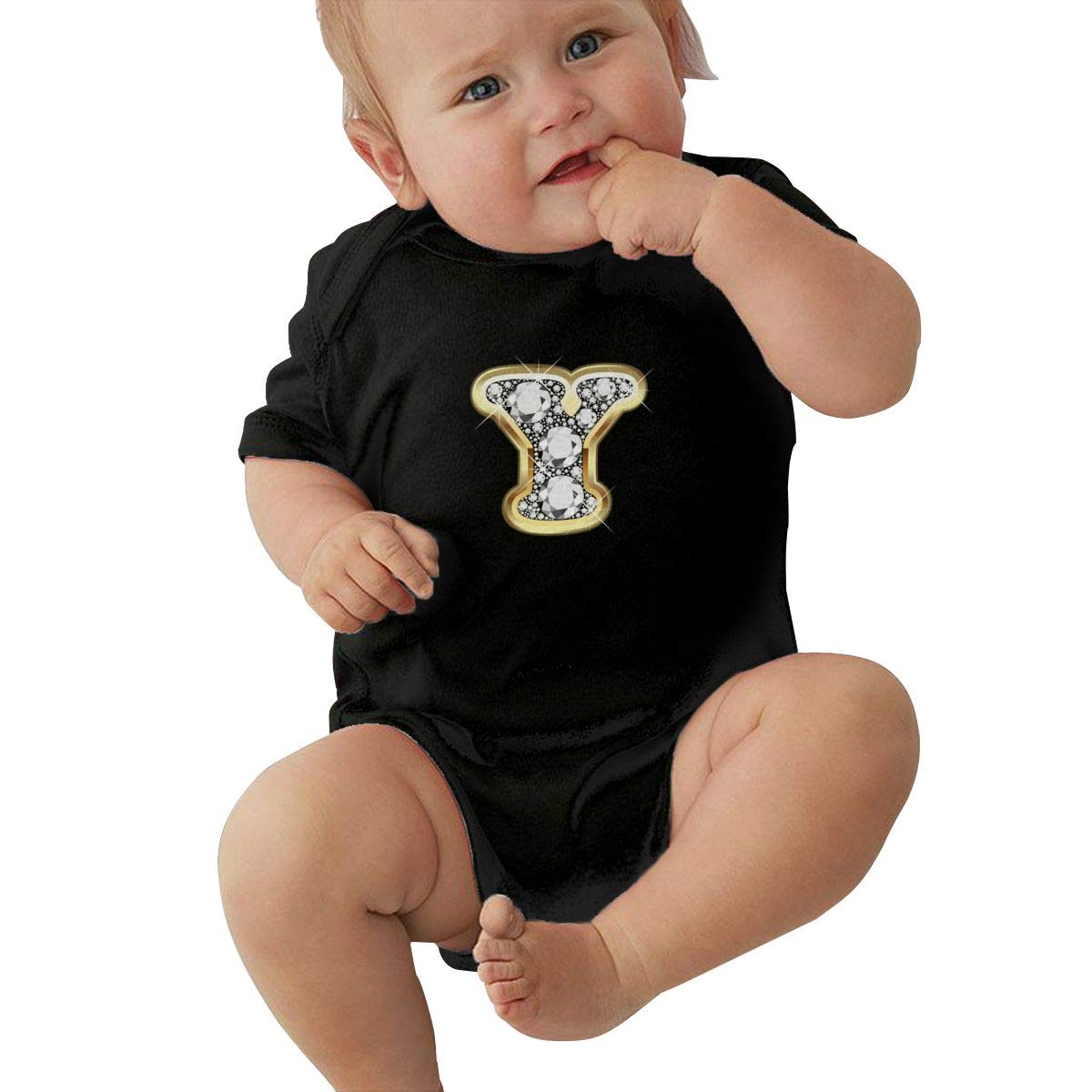 Faleny Cotton Baby Onesies-Unisex Breathable Rompers Y Letter in Gold Bodysuits Lab Shoulder Neckline Jumpsuit Infant One-Piece Outfit Short Sleeve Jersey 0-24 Months