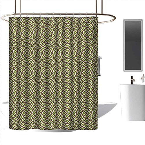 Kids Shower Curtains Abstract,Lines and Squares Design Pale Colors Ornate Surrealism Inspired,Chocolate Yellow Green Olive Rust-Resistant Grommet Holes W48 x L72 Inch