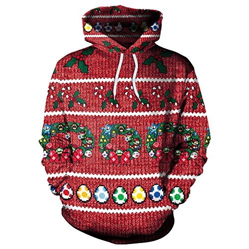 Women's Holiday Xmas Ribbon Print Long Sleeve Pullover Knit Sweater Hooded XL