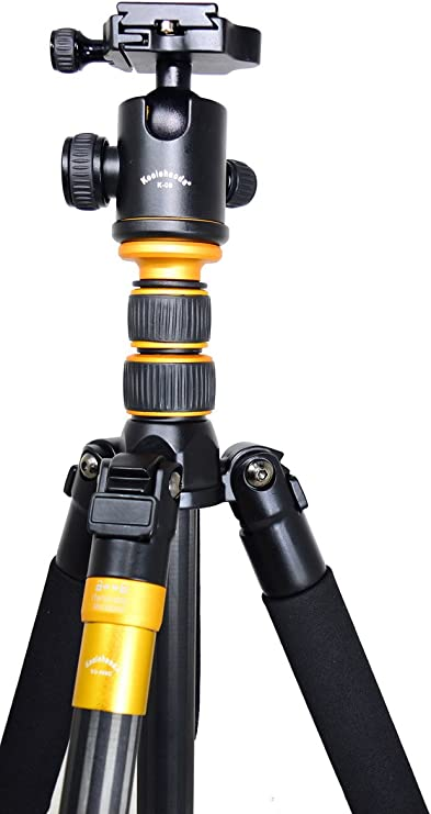 Nikon Fuji Olympus Panasonic Cameras and Video Camera Koolehaoda Q-666C Portable Carbon Tripod Monopod Kit /& Ball Head Compact Travel for All Canon Sony Samsung Kodak