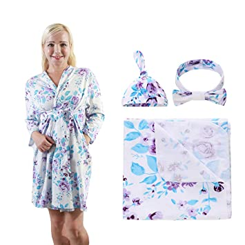 Maternity robe and swaddle set girl Floral bow headband. Light weight cotton robe Mommy and me robe and swaddle set girl