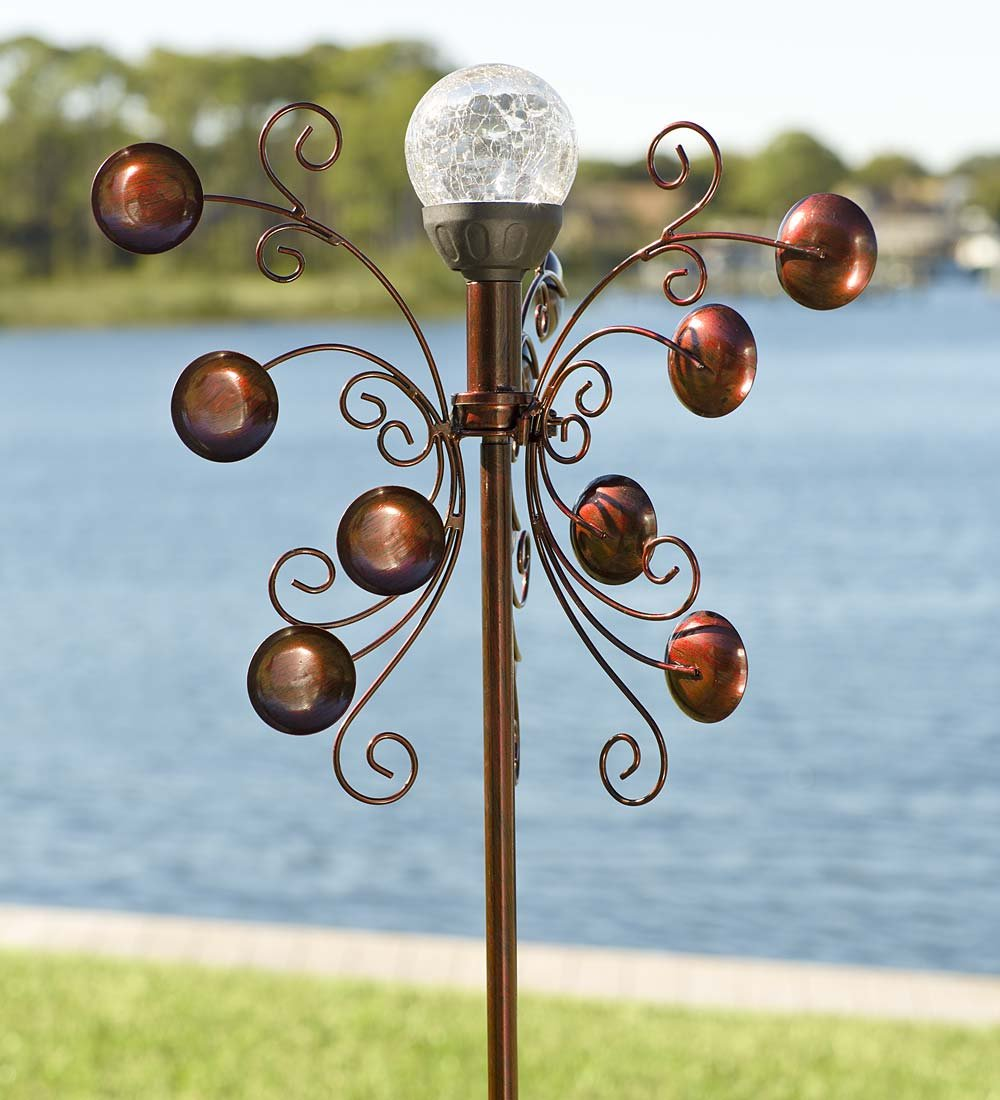 Outdoor Bronze-Colored Solar LED Garden Wind Spinner