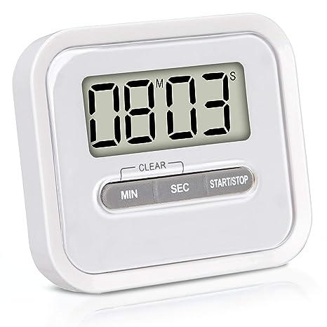 VARA Temporizador con cronómetro, Incluye imán y Soporte de fijación - Reloj de Cocina Digital