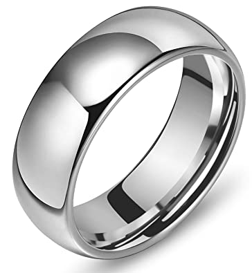 Amazon.com: 8 mm Cúpula Pulido Plain Tungsteno Anillo Mens ...