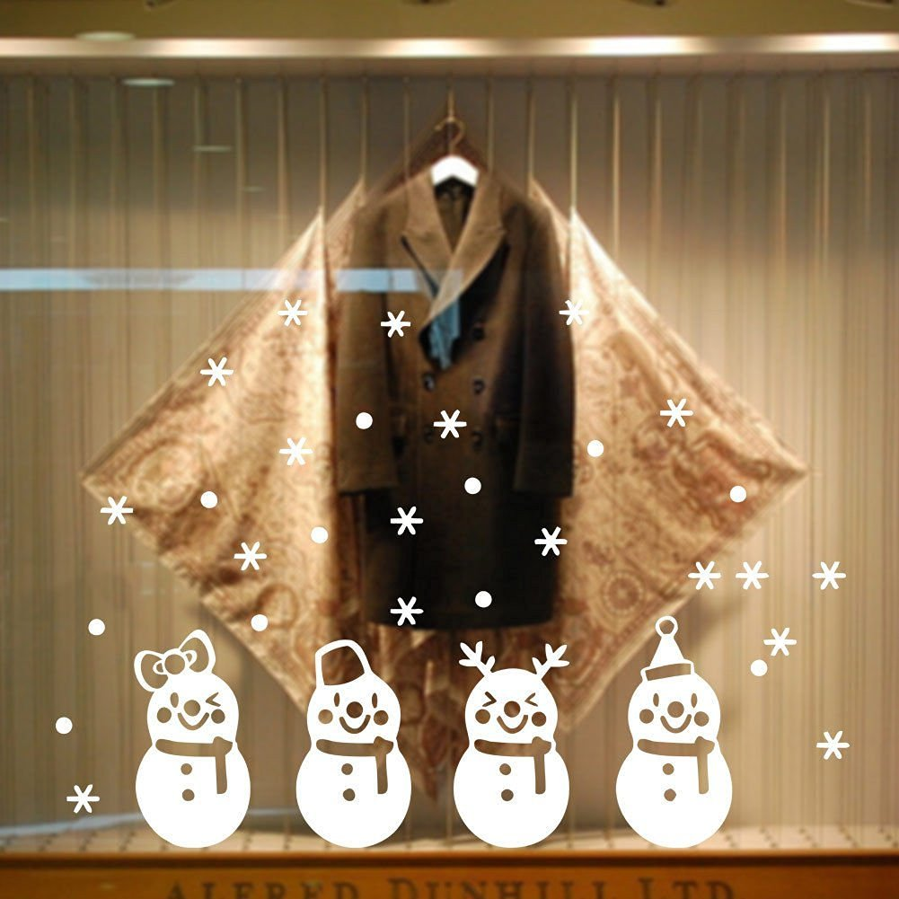 BIBITIME Merry Christmas Four Lovely Snowman In Snowflakes Showcase Window Decors Wall Stickers Art DIY Murals Reusable Great For Home Or Shop Window