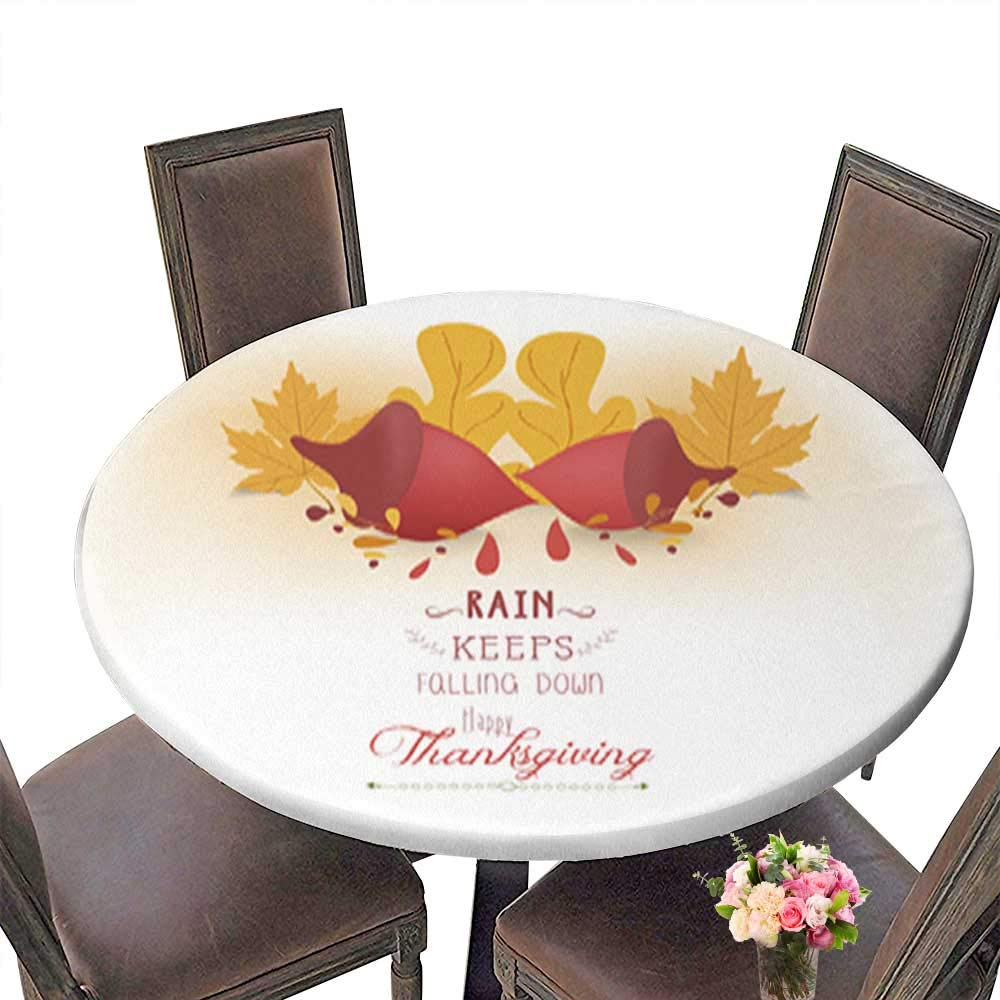 Round Table in Washable Polyeste Happy Thanksgiving with Acorns and Leaves Banquet Wedding Party Restaurant Tablecloth up to 31.5''-33.5'' Diameter