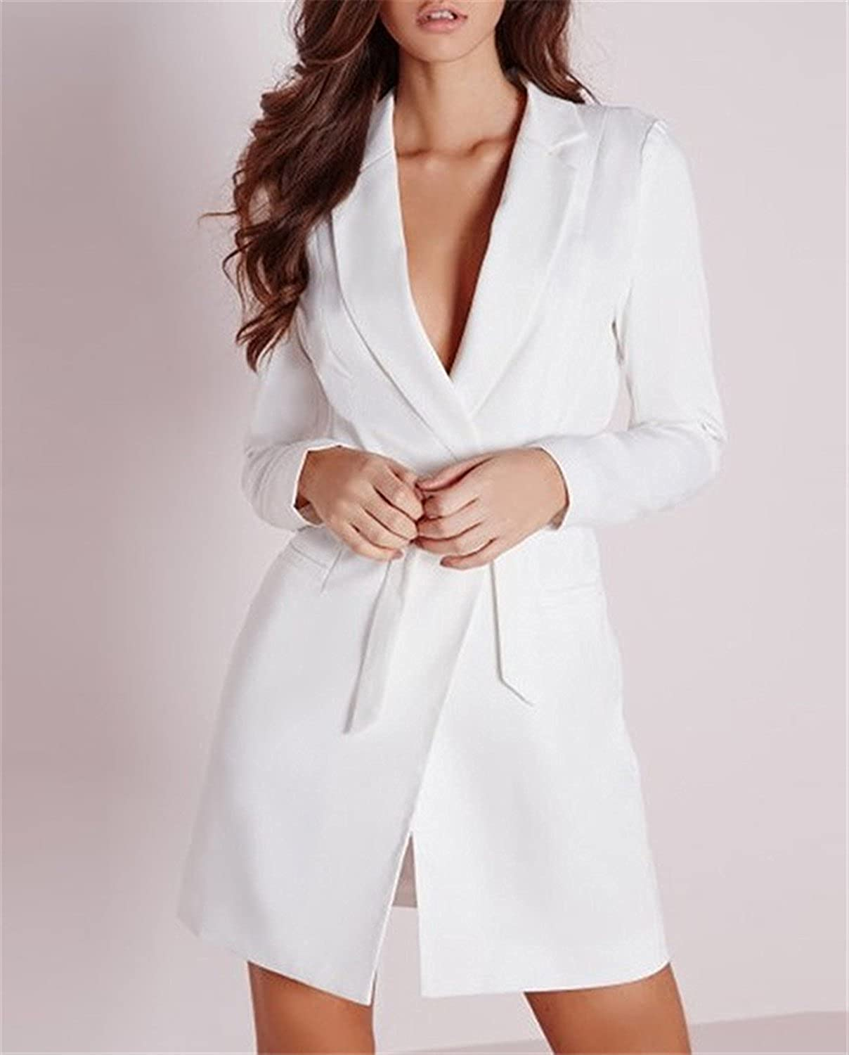 Shining4U Belted Deep V Neck Suit Dress Quality Long Sleeve Suit jacket Womens Blazer For Work White at Amazon Womens Clothing store: