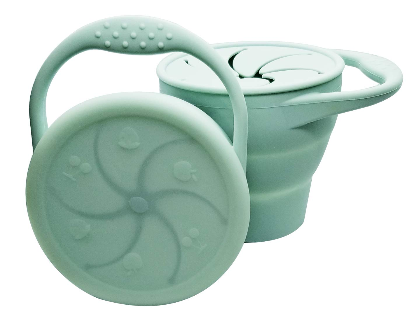 Snack Attack | Toddler Snack Cup Baby Snack Container Collapsible Silicone Snack Catcher Lid No Spill (Mint Green)