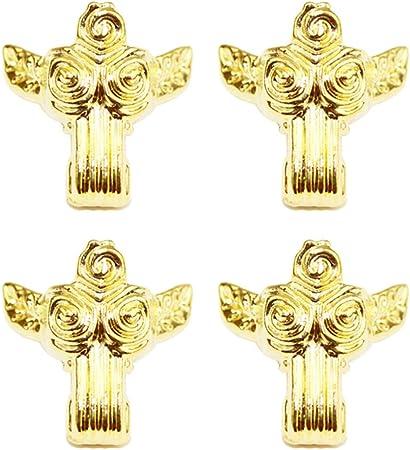 VOSAREA 8 Piezas Caja de Patas Antiguas Forma de Rosa pies de Metal Protectores de Esquina Caja de joyería Vintage pies aleación de Zinc Caja de Cofre de Madera Patas de Oro: