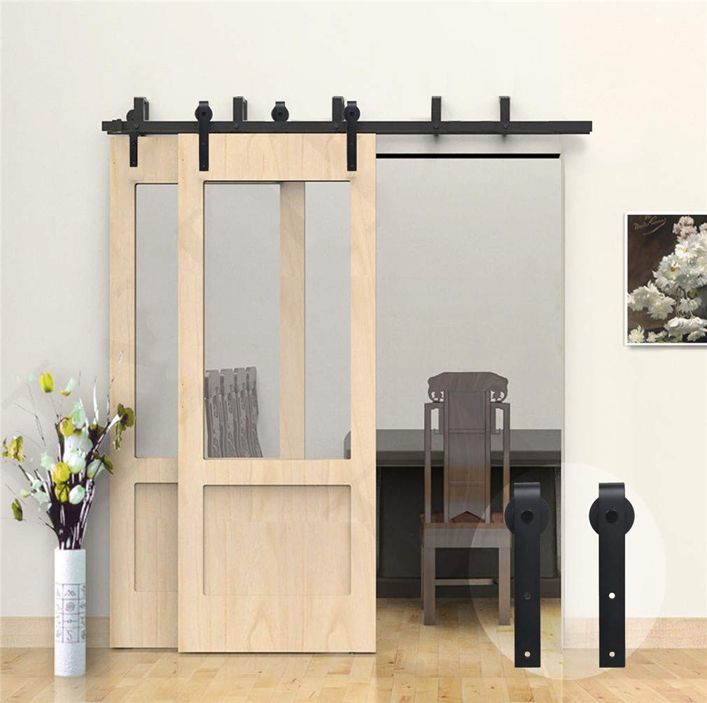 10.5FT negro Kit de gu/ía para puerta corredera Bypass Ferreter/ía Polea de Rail suspendida sistema de puerta interiores en madera granero armario cuarto de 320cm