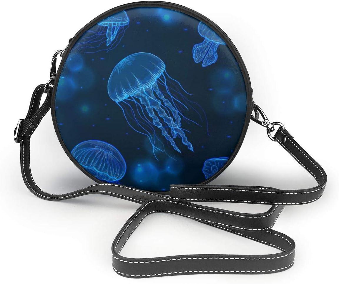 Underwater World Jellyfish Womens Round Messenger Shoulder Bags Small Wallet School Business Work Bag