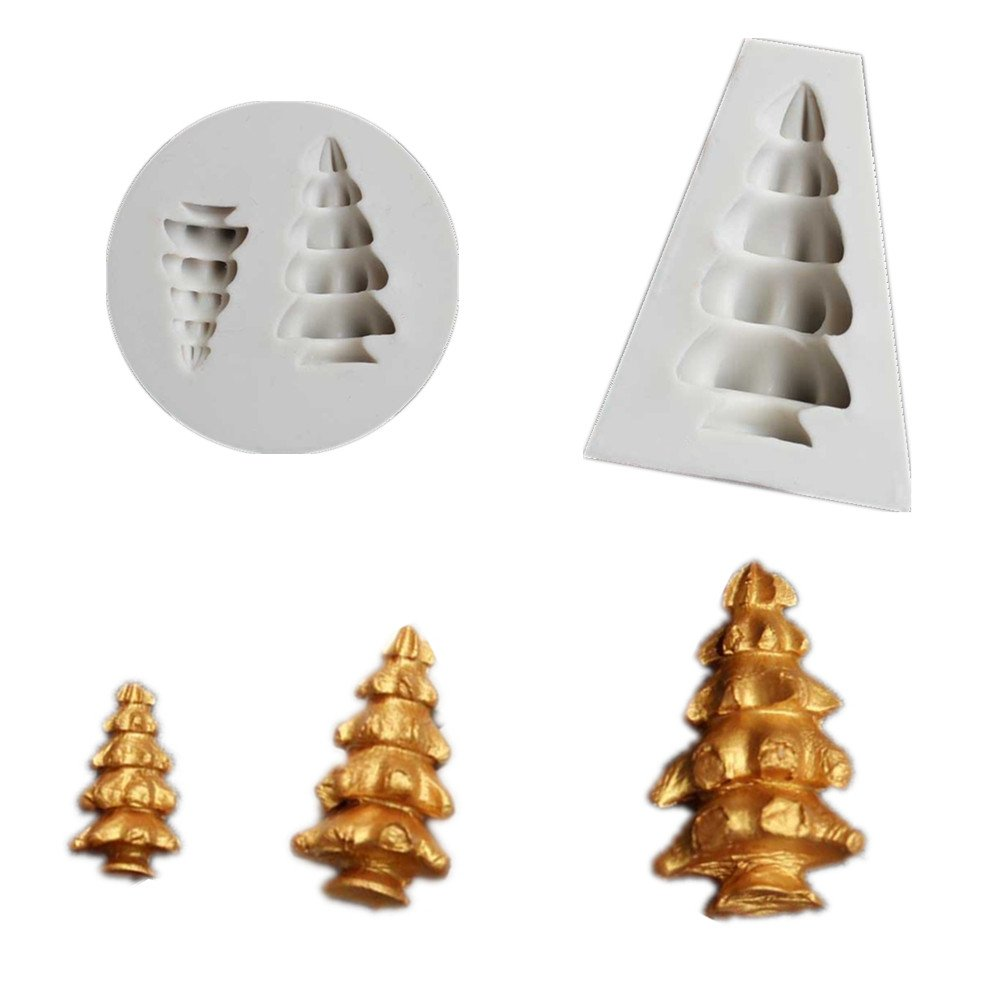 2 Pc/Set Big/Small Christmas Tree Silicone Mold Jewelry with Hole for Polymer Clay, Crafting, Resin Epoxy, Pendant Making, DIY Fashion Decoration Tools Aouke