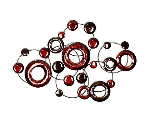 Metallic Circles - red wall art - pretty red wall decor