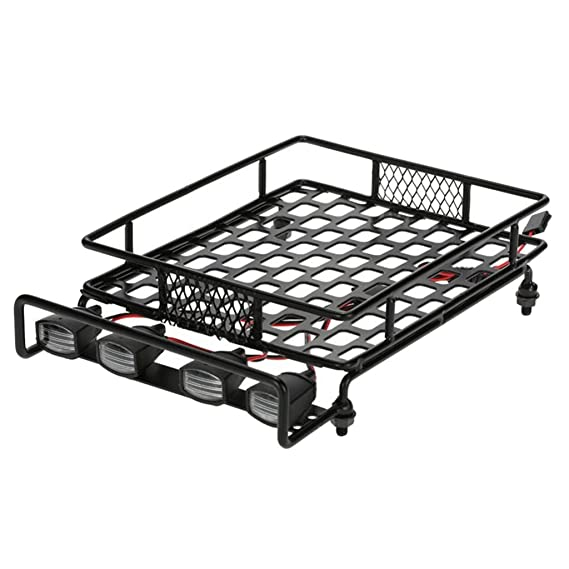 Segolike Metal Luggage Roof Rack With Led Light For 1/10 Rc Rock Crawler Off-Road Cars - Black Remote Controlled Devices at amazon