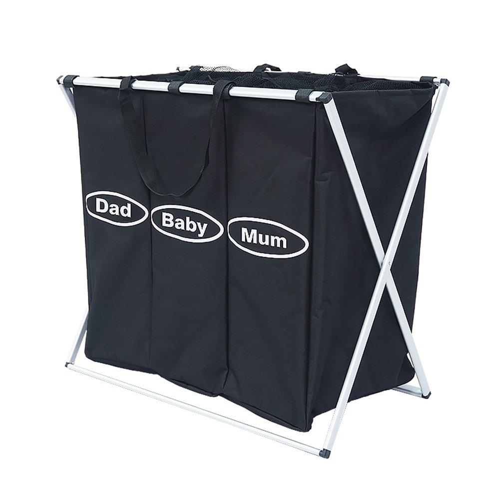3 Sorter Foldable Laundry Hamper Grand Capacity Oxford Laundry Basket Dirty Clothes Storage Cart for Family-Black LeKaDee