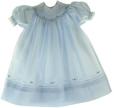 5909ca53f Amazon.com  Girls Blue Smocked Portrait Bishop Dress Feltman ...