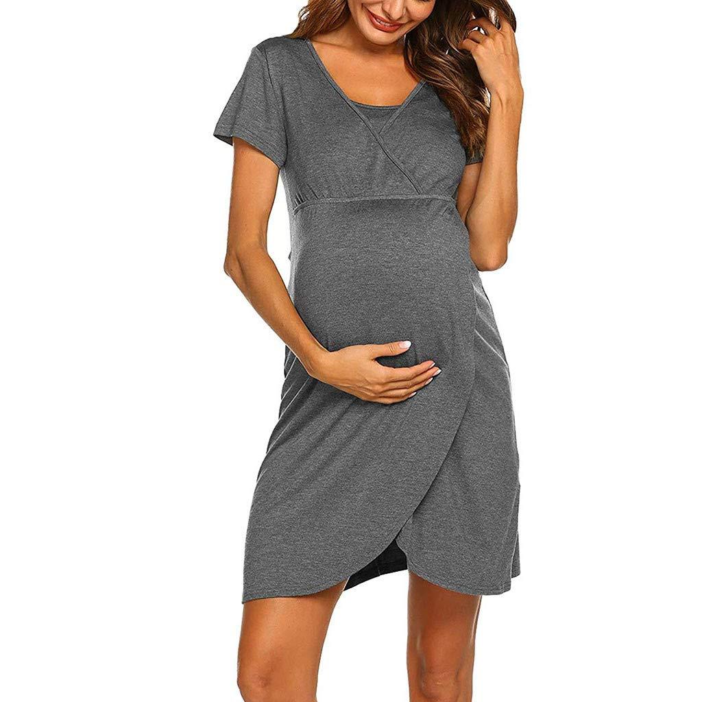 erthome Women Pregnant Maternity Stripe Tunic Breastfeeding Summer Maternity Dress