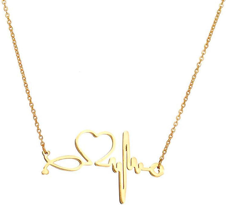 SXNK7 Stainless Steel Nurse Doctor Medical Stethoscope Chain Bijoux Collier EKG Heartbeat Love You Necklaces