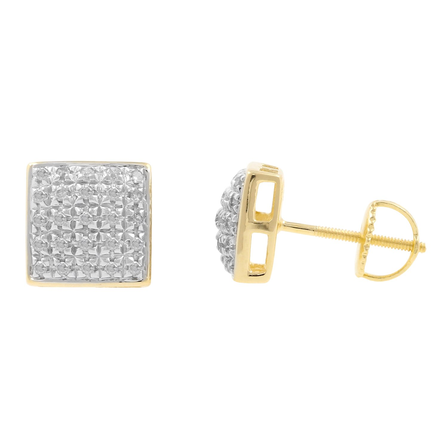 0.20ct Real Diamond Square Dome Shape Mens Stud Earrings in 10kt Yellow Gold-1/5 CTTW (G-H, I1-I2)