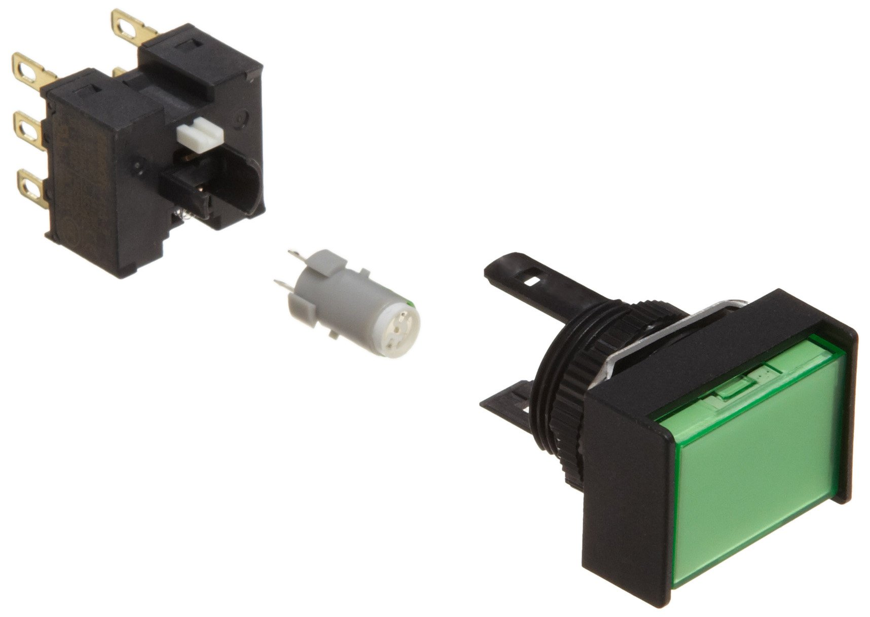 Omron A165L-JGM-5D-2 Two Way Guard Type Pushbutton and Switch, Solder Terminal, IP65 Oil-Resistant, 16mm Mounting Aperture, LED Lighted, Momentary Operation, Rectangular, Green, 5 VDC Rated Voltage, Double Pole Double Throw Contacts