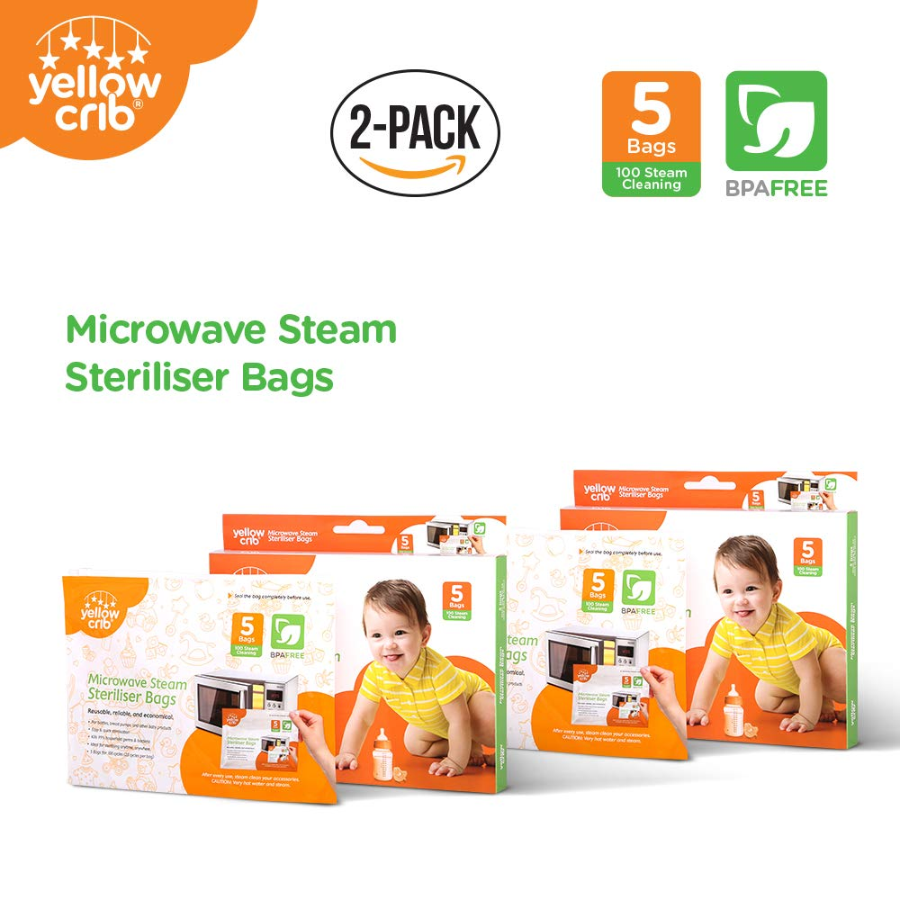 Microwave Steam Sterilizer Bag (5 Pcs) - 100% Safe & Easy Ziplock Steam Bags for Baby Bottles, Soothers, Teethers & Training Cups (2 pack)
